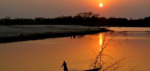 sunset views of majuli