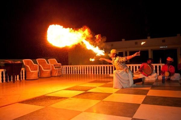 fire blowing acrobat
