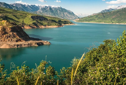 Lake Charvak Reservoir in Uzbekistan
